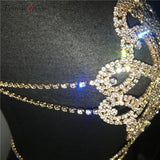 Diamond Shaped Sparkly Rhinestone Body Chain Top (Gold/Silver)