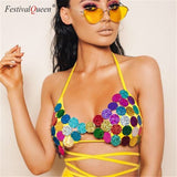 Multicolor Mermaid Sequin Body Chain Bikini Top