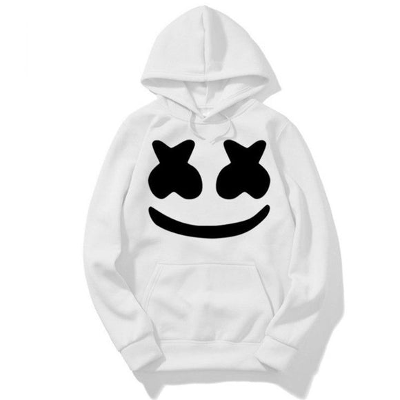 cosplay mysterious DJ marshmells jacket with hat Sweatshirt men and women Anime smiley costume Halloween music party Cool gift