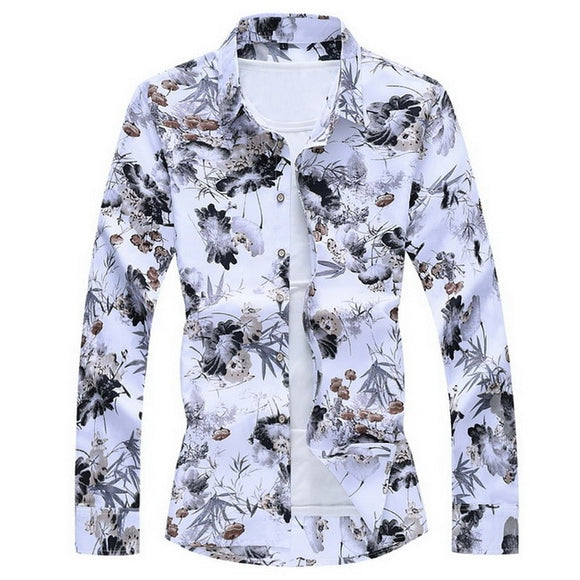 Fashions 2020 Autumn Spring Clothes Long Sleeves Shirt Men Plus Asian Big Size M-5XL 6XL 7XL Hawaiian Beach Casual Floral