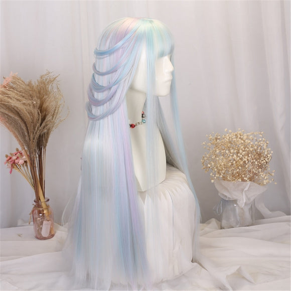 Anime Gradient ramp Lavender mix Blue lolita Cosplay Wig Girl Hairpiece Blunt Bangs Halloween Straight hair Hair Periwig only