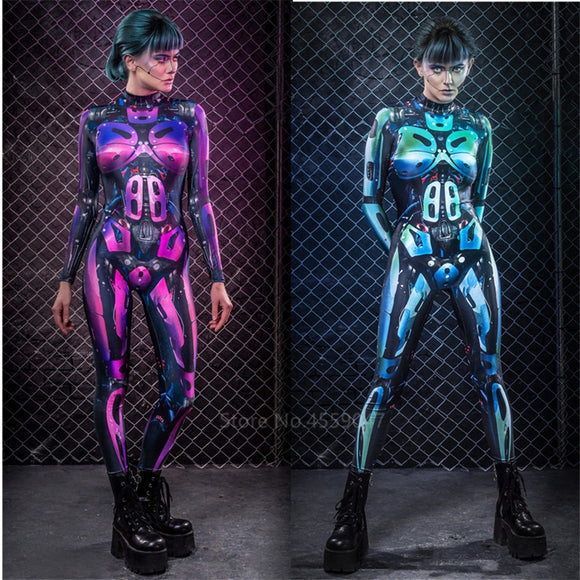Women's Robot Warrior Science Fiction Bodysuit Cosplay Costume
