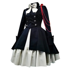Plus Size Women Bow Long Sleeve Ruffles Vintage Dress Female Gothic Court Patchwork Fashion Princess Dress Medieval Renaissance