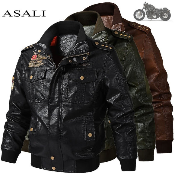 2020 Men's Classical Motocycle Jacket Winter Skin Thick Man Leather Jacket Moto Autumn Zipper Jacket Biker Coat Large Size 6XL