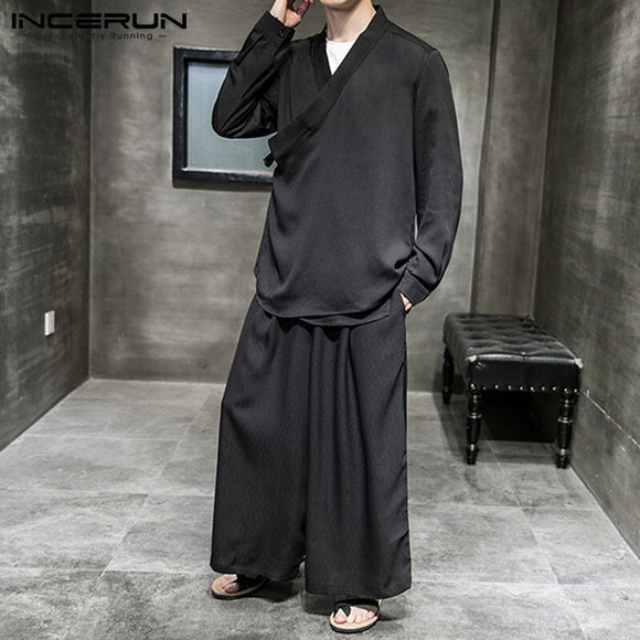 Chinese Style Men Sets Vintage  Streetwear V Neck Long Sleeve Shirt Tang Suit Casual Wide Leg Pants Solid Men Suit INCERUN S-5XL
