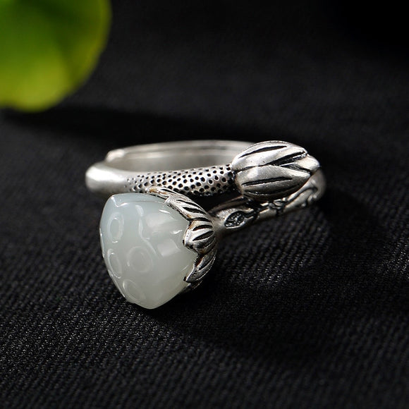 Silver 925 ring 925 sterling silver jewelry Lotus Retro Hetian Jade Bai Yu Woman ring opening adjustable Costume jewelry