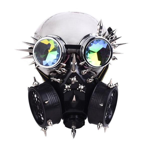 Steampunk Fully-Studed Mask with Rivet Goggles Cosplay Fancy Mask Exclusive Gothic Retro Rock Halloween Mask & Glasses