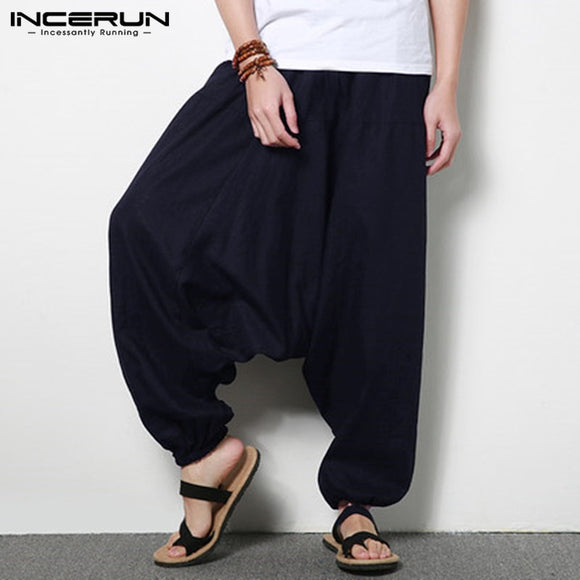 INCERUN Streetwear Harem Pants Men Drop-crotch Cotton Joggers Wide Leg Pants Nepal Trousers Men Loose  Pantalones Hombre S-5XL