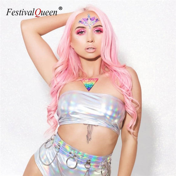 2019 New Glitter Holographic Silver Multi Styles Tank Tops Strapless Tube Top Turtleneck Crop Top Strap Camis Sleeveless Vest