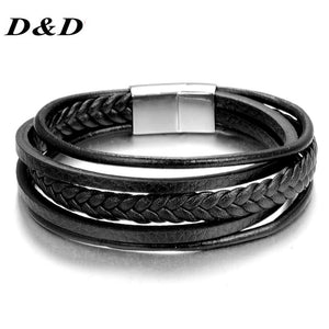 2018 New Fashion Charm Jewelry Wholesale Punk Cool Men Genuine Leather Bracelets For Male Christmas Gifts