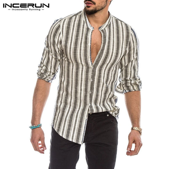 INCERUN Fashion Men Striped Shirt Long Sleeve Button Streetwear Chic Stand Collar Autumn Casual Shirts 2020 Handsome Camisas 5XL
