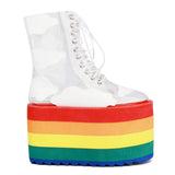 Women's Rainbow Stripes Platform Laced-Up Vinyl Boots