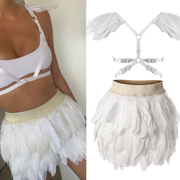 White Angel Wings Swan Feather Mini Skirt Set Elastic Waist High Street Busty Sexy Clothing Halloween Club Party Dance Goth Rave