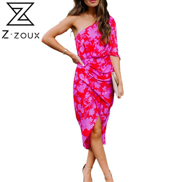 Women Dress Oblique Collar One Shoulder Printed Bohemia Dresses Sexy Long Floral Dresses Irregular Loose Summer Dresses