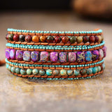 Bohemian Vintage Leather Wrap Bracelets W/ Mix Jaspers Stone 3 Strands Bracelet Bohemian Women Jewelry