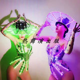 LED Futuristic Technology Lens Shiny Glowing Bodysuit Hat Suit Women Party Costume Nightclub Bar Performance Clothing