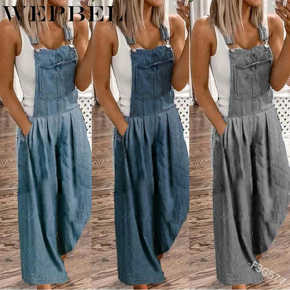 Women Denim Overalls Streetwear Loose Pocket Jumpsuits BF Style Vintage Wide Leg Jeans Rompers