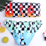 two piece Swimsuit High Waist Sexy Bikini Set Fire Print Bathing Suits off-Shoulder grid print Push up separate Women Swimsuit