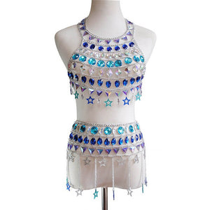 Bling Crystal Rhinestone 2 Piece Set Hollow Halter Sleeveless Backless Crop Top Metal Chain Tassel Mini Skirt Sexy Party Outfits