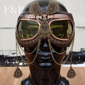 Burning Man Festival Steampunk Goggles Vintage Rave Sport Cyber Sunglass Carnival Costume Gogo Dance Perform Wear Accessories