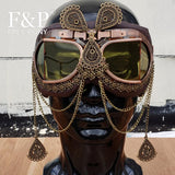 Steampunk Vintage Bronze Tinted Goggles with Linked Chains