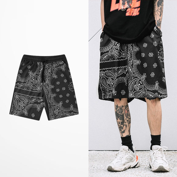Men's Shorts Casual Streetwear Bandanna Paisley Pattern Print Stripe Jogger Short Pants Men Cotton  Sweatpants