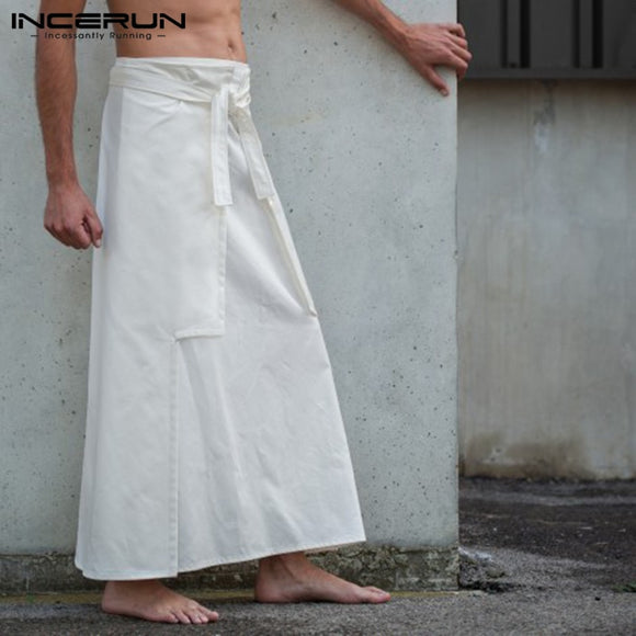 INCERUN Casual  Kilt Samurai Trouser Mens Long Skirts Martial Arts Style Kendo Skirts Men Solid Vintage Military Clothing