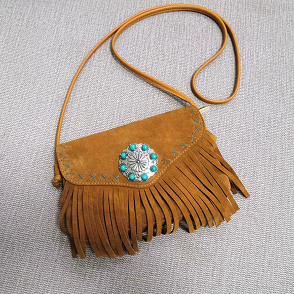 TEELYNN Boho Hippie Gypsy Fringe Bag For Women Vintage Suede Genuine Leather Flower inlaid with beads Crossbody Tassel bags