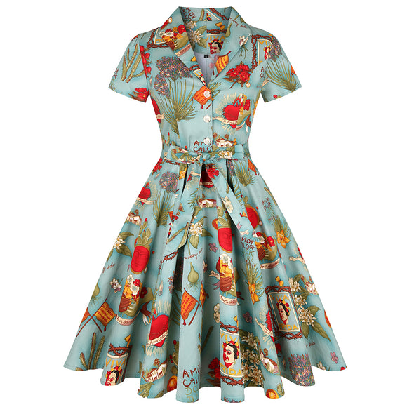 Frida Kahlo Print Vintage Turn-Down Collar Pleated Dress