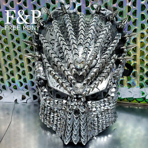 Burning Man Festival Spike Steampunk Mask Carnival Costume Gogo Dancer Halloween Cosplay Accessories