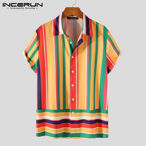 Men Rainbow Striped Shirt Lapel Short Sleeve Streetwear Hawaiian Shirts Button Breathable Casual Camisas S-5XL