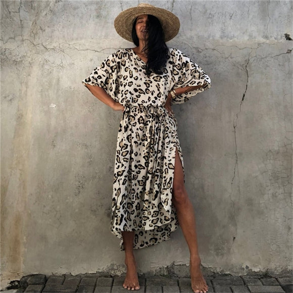Print Leopard Beach Sashes Loose Long Dress Female Summer New Sexy Side Split Bikini Cover-Up Vintage Bohemian Dress Robe