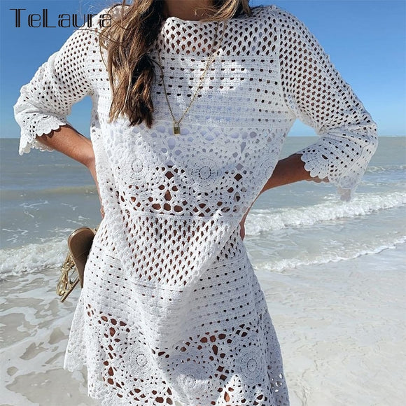 2019 Sexy Beach Cover Up White Crochet Knitted Beachwear Beach Dress Women Bikini Swimwear Bathing Suit Summer Big Sale