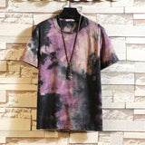 Men's T-shirts Summer Casual Harajuku Tie-dyed Printing O-neck Short Sleeve Hiphop T-shirt Tops Mens Male Clothing Camiseta 2020