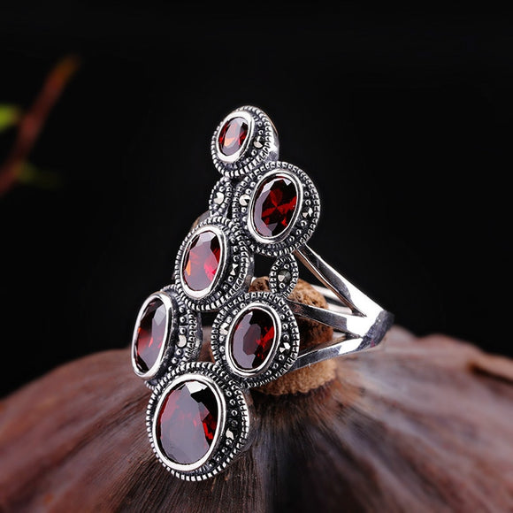 Silver 925 ring S925 sterling silver vintage jewelry Lady Pomegranate India Costume jewelry Adjustable garnet ring JZ142339
