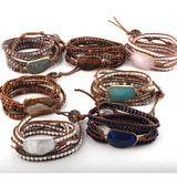 Fashion Women Woven Bracelet Handmade Mixed Natural Stones Crystal 5 Strands Wrap Bracelets Bohemian Statement Bracelet
