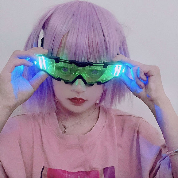 Japan Harajuku Anime Glasses LED Shiner Super Cool Safety Goggles Cosplay Future Machinery Harajuku Night Vision