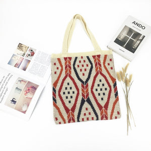 Knit Gypsy Bohemian Boho Chic Aztec Tote Bag Women Crochet Woolen Open Shopper Top-handle Bag 2020 Female Daily Handbag