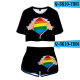 Rainbow Design Women's 2 Piece Shirt and Shorts Set (9 Options)