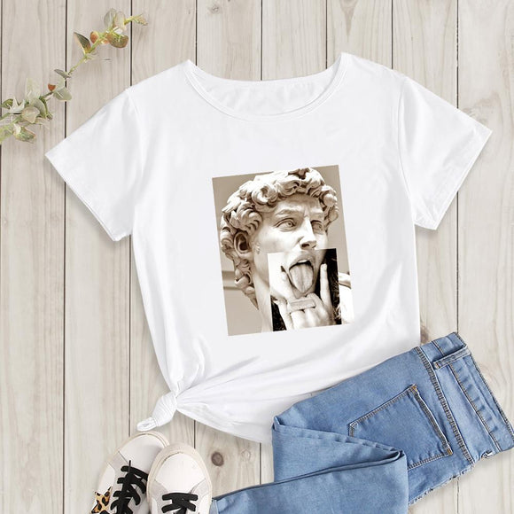 Fashion Tshirt Women Tshirts Casual Short Sleeve O Neck t-shirt Renaissance Spoof Print Tshirt 00505