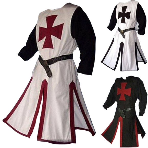 Crusader Costume Medieval Warriors Knight Templar Outfit For Adult Men Gown Dress Shirt Top Tabard Surcoat Tunic Coat Plus Size