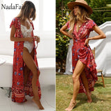 Boho Pastel Floral Print Maxi Dress (10 Colors)