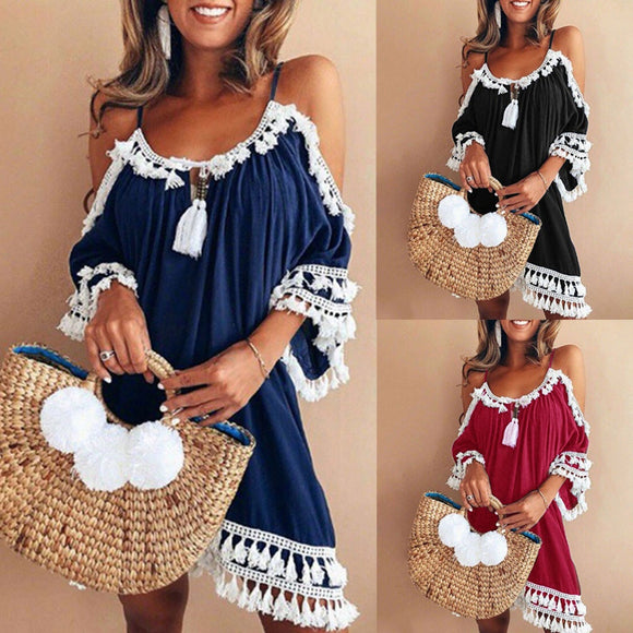 Women Off Shoulder Dress Tassel Short Cocktail Party Beach Dresses Sundress strand beach summer outing in summer