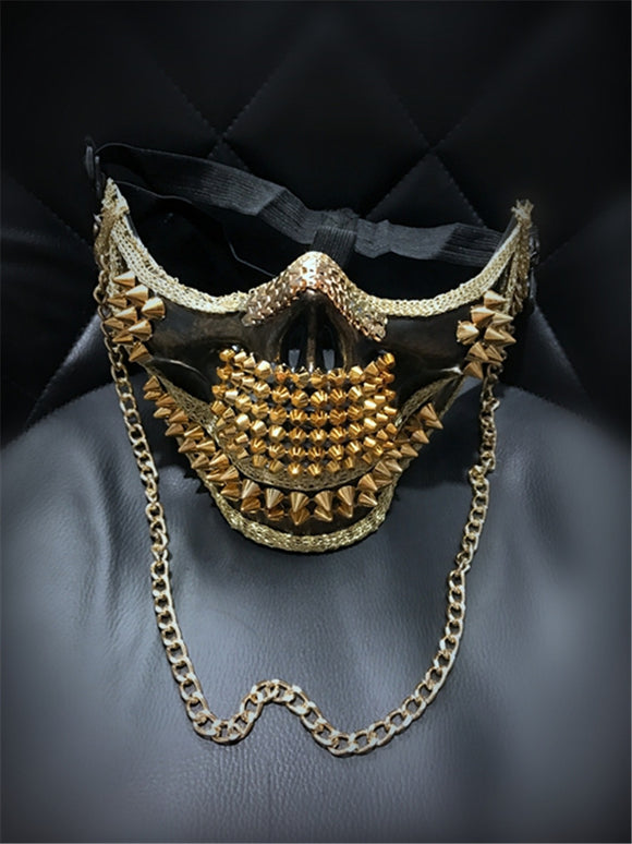 Gold Rivet Skull Face Mask with Chain