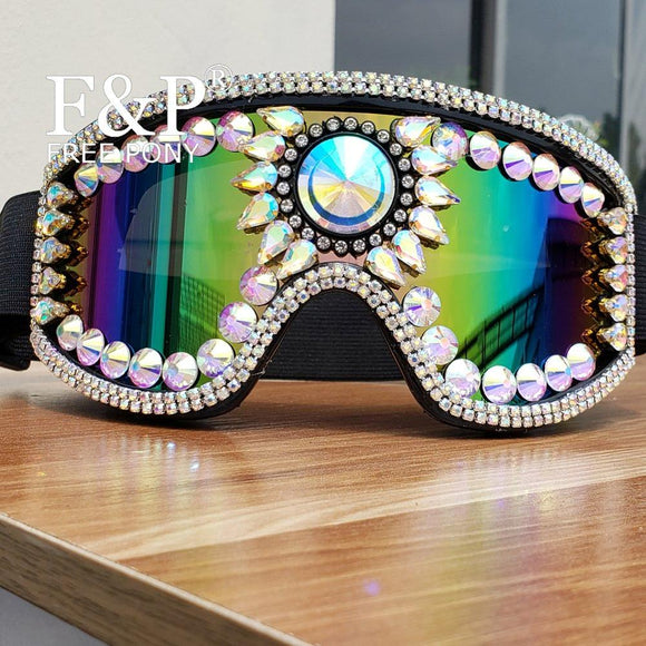 Burning Man Festival Holographic Crystal Goggles Rave Sport Sunglass Carnival Costume Gogo Dance Perform Wear Accessories