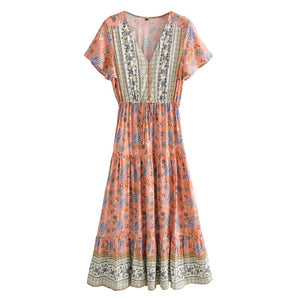Women Sexy V Neck High Split Long Dress 2020 Print Flare Sleeve bohemian dress Ladies rayon cotton  Boho Maxi Dress Vestido