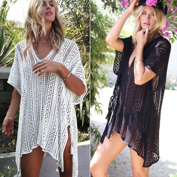 2018 New Arrivals Sexy Beach Cover up White Crochet Robe de Plage Pareos for Women Swim Wear Saida de Praia Beachwear Coverups