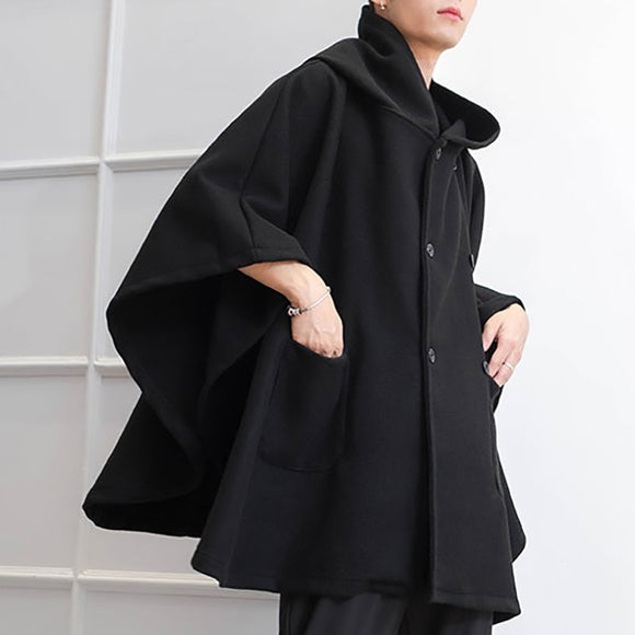 INCERUN 2020 Fashion Men Cloak Coats Solid Loose Capes Hooded Double Breasted Winter Trench Streetwear Chic Men Poncho Outerwear