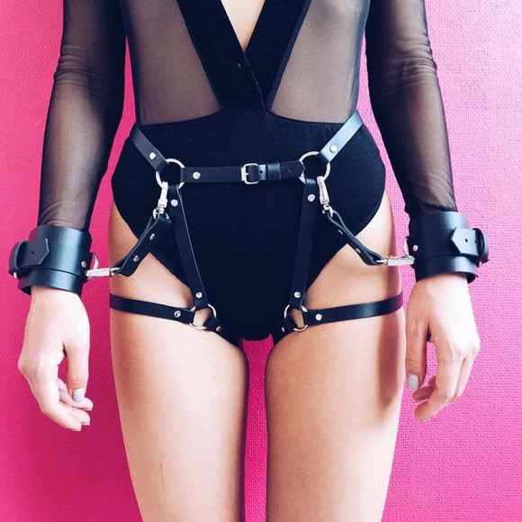 Leather Adjustable Cuff Restraint Harness Belt