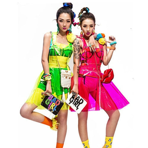 Fluorescent Transparent Vinyl Overall Dress (6 Colors)